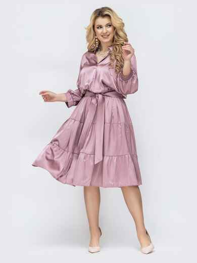 розовое платье большого размера с резинкой по талии 45208, фото 1