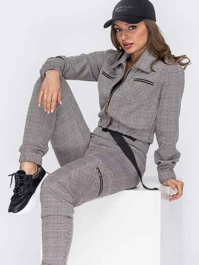 Серый костюм из укороченной кофты и брюк 53426, фото 1