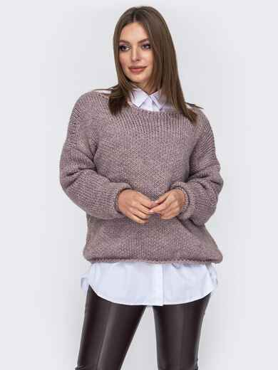 Свободный свитер со спущенным плечевым швом фиолетовый 52607, фото 1
