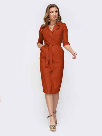 Терракотовое платье приталенного силуэта с карманами  49850, фото 1