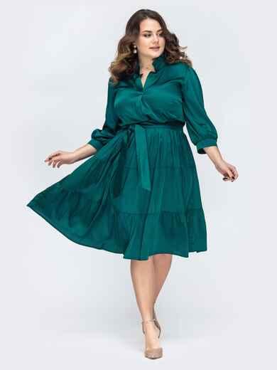 Зеленое платье большого размера с резинкой по талии 45209, фото 1
