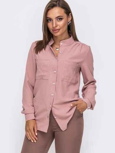Блузка с воротником-стойкой пудрового цвета 49644, фото 1