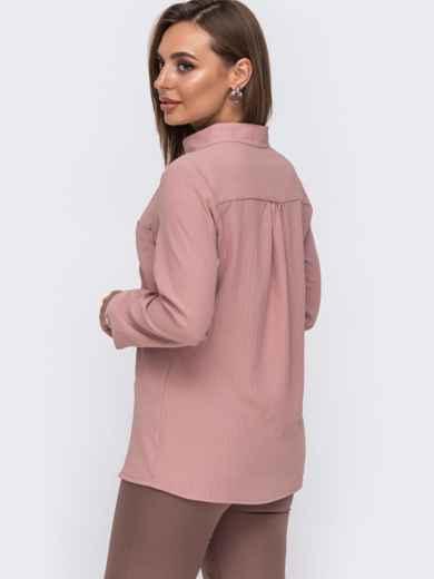 Блузка с воротником-стойкой пудрового цвета 49644, фото 2