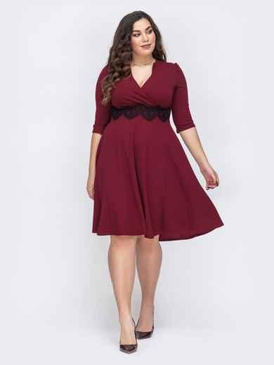 Бордовое платье большого размера с юбкой-полусолнце 43709, фото 1