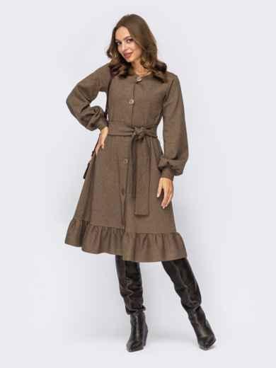 Коричневое платье А-силуэта с воланом по низу 55295, фото 1