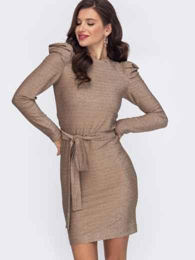 Платье-миди с люрексом и буфами на рукавах бежевое 51975, фото 1