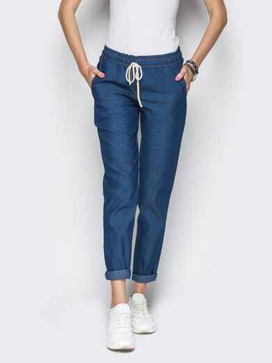 Хлопковые брюки со шнурком тёмно-синие 10295, фото 2