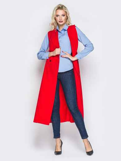 Красное платье-пиджак с карманами и ремешком - 19441, фото 1 – интернет-магазин Dressa