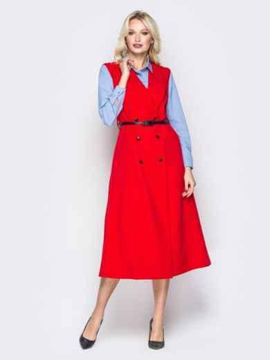 Красное платье-пиджак с карманами и ремешком - 19441, фото 2 – интернет-магазин Dressa