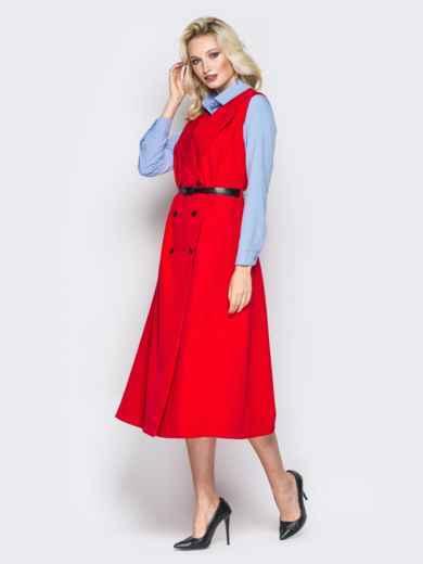 Красное платье-пиджак с карманами и ремешком - 19441, фото 3 – интернет-магазин Dressa