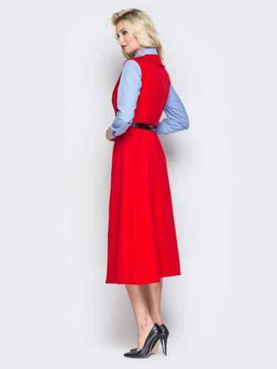 Красное платье-пиджак с карманами и ремешком - 19441, фото 4 – интернет-магазин Dressa