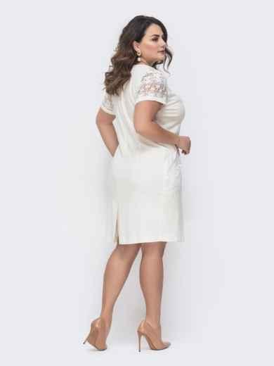 Молочное платье большого размера со вставками из гипюра 46412, фото 2