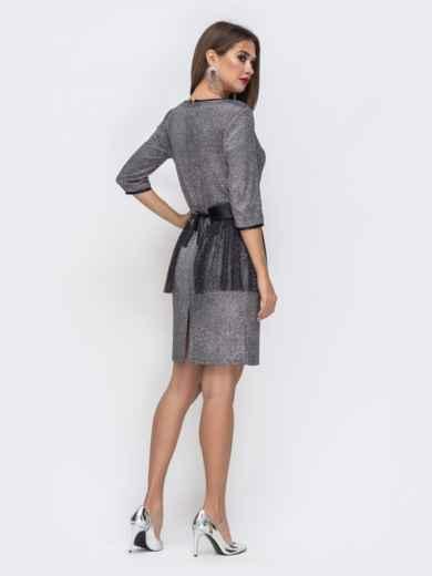 Платье с люрексом со съемной баской из сетки - 43035, фото 2 – интернет-магазин Dressa