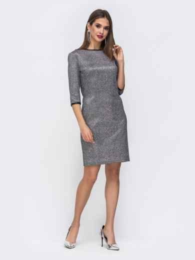 Платье с люрексом со съемной баской из сетки - 43035, фото 3 – интернет-магазин Dressa