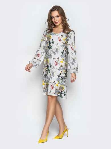 Принтованное платье из софта с манжетами на резинке серое - 20824, фото 1 – интернет-магазин Dressa
