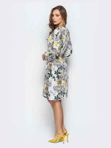 Принтованное платье из софта с манжетами на резинке серое - 20824, фото 2 – интернет-магазин Dressa