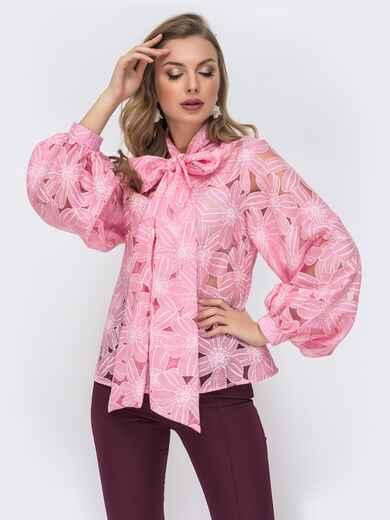 Розовая блузка с воротником-аскот 44068, фото 1