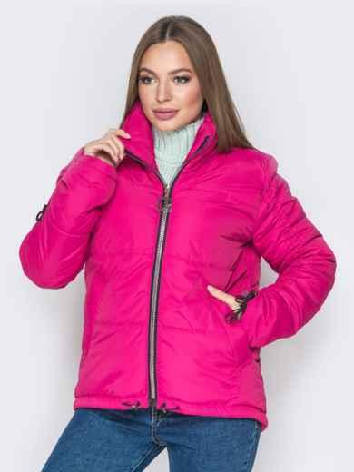 Розовая куртка на кулиске снизу и воротником-стойкой - 20060, фото 2 – интернет-магазин Dressa