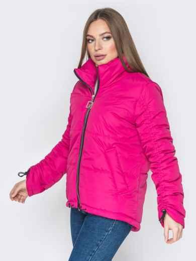 Розовая куртка на кулиске снизу и воротником-стойкой - 20060, фото 3 – интернет-магазин Dressa