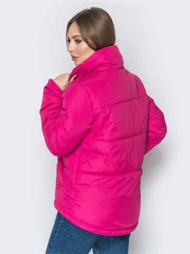 Розовая куртка на кулиске снизу и воротником-стойкой - 20060, фото 4 – интернет-магазин Dressa