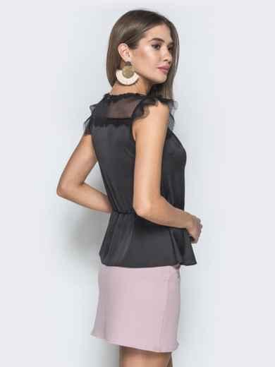 Шелковая блузка с фатиновыми вставками на плечах чёрная - 38460, фото 2 – интернет-магазин Dressa