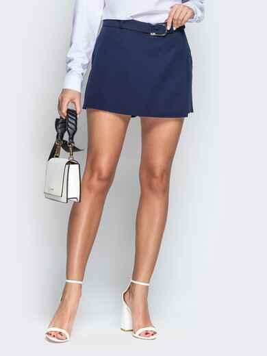 Синяя юбка-шорты из костюмной ткани с поясом - 21085, фото 1 – интернет-магазин Dressa