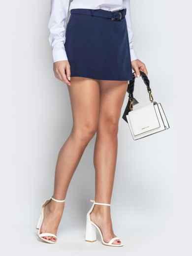 Синяя юбка-шорты из костюмной ткани с поясом - 21085, фото 2 – интернет-магазин Dressa