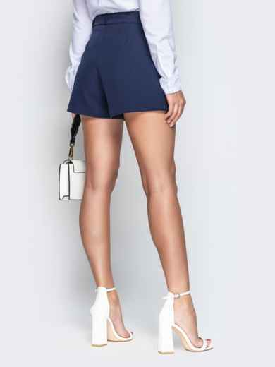 Синяя юбка-шорты из костюмной ткани с поясом - 21085, фото 3 – интернет-магазин Dressa