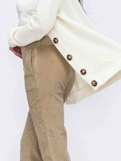 Зауженные брюки из вельвета бежевые - 45800, фото 2 – интернет-магазин Dressa