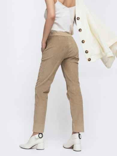 Зауженные брюки из вельвета бежевые - 45800, фото 3 – интернет-магазин Dressa