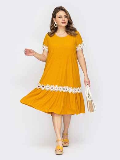 Желтое платье батал с перфорацией и кружевом по низу 53723, фото 1