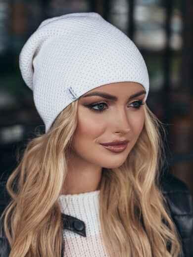 Белая шапка-колпак двойной вязки 15408, фото 1