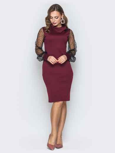 Бордовое платье с рукавами из фатина - 19642, фото 2 – интернет-магазин Dressa