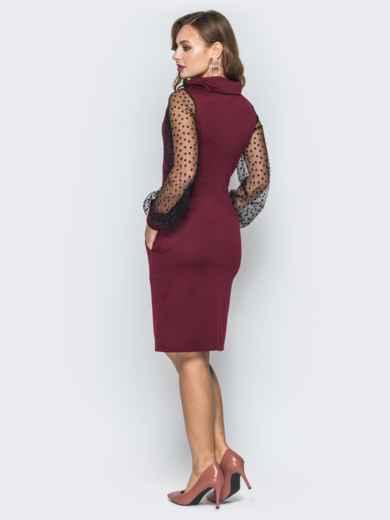 Бордовое платье с рукавами из фатина - 19642, фото 3 – интернет-магазин Dressa