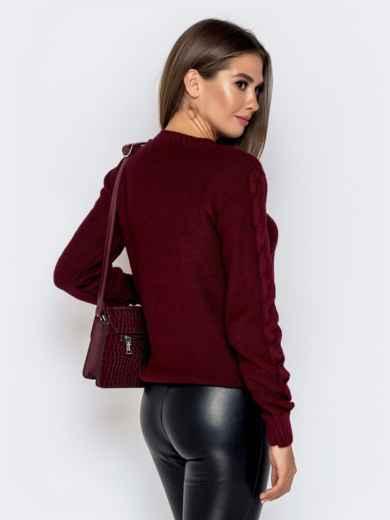 Бордовый свитер с ажурной вязкой 41073, фото 3