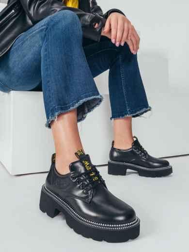 Осенние ботинки на массивной подошве черные 50590, фото 1