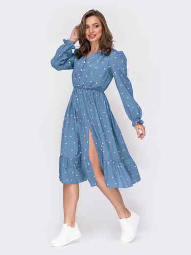 Голубое платье в горошек с юбкой-клеш 53850, фото 1