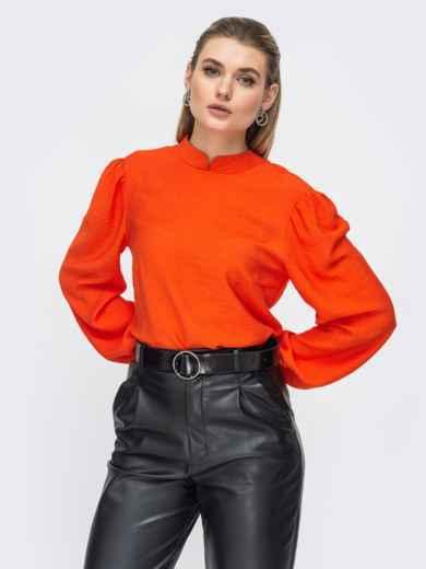 Красная блузка с воротником-стойка 45862, фото 1