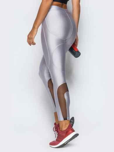 Лосины белого цвета с вставками из сетки - 17180, фото 3 – интернет-магазин Dressa