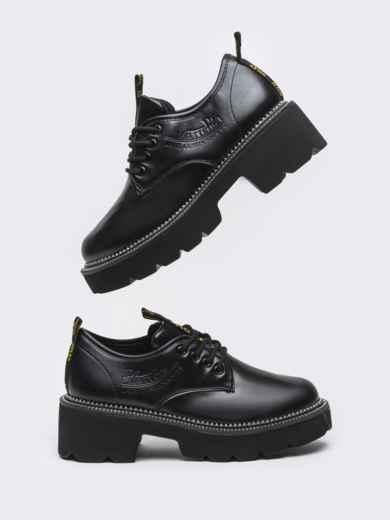 Осенние ботинки на массивной подошве черные 50590, фото 2