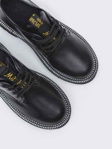 Осенние ботинки на массивной подошве черные 50590, фото 3