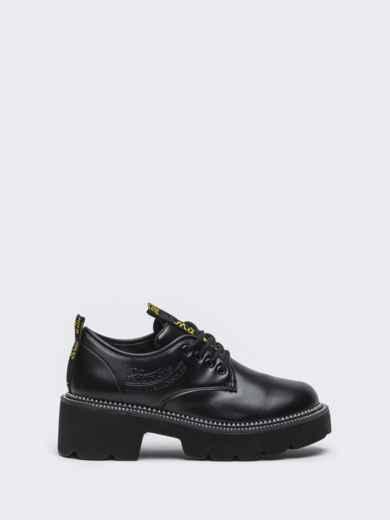 Осенние ботинки на массивной подошве черные 50590, фото 4