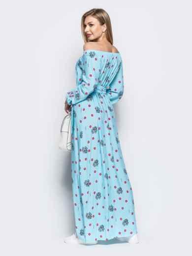 Платье-трапеция с принтом и открытыми плечами голубое - 21919, фото 3 – интернет-магазин Dressa