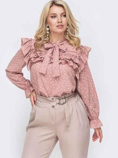 Розовая блузка большого размера с воротником аскот  49815, фото 1