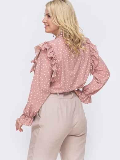 Розовая блузка большого размера с воротником аскот  49815, фото 2