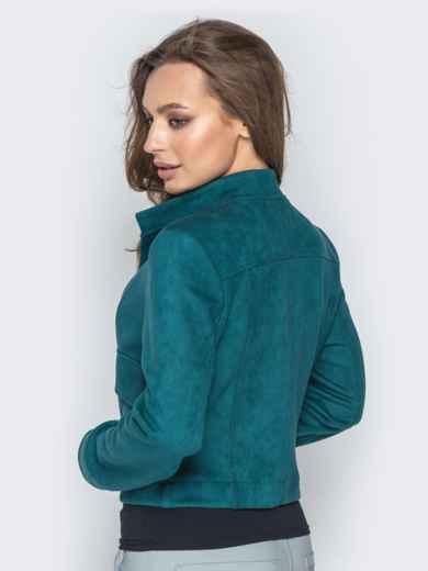 Зелёный жакет из замши с накладными карманами - 21747, фото 3 – интернет-магазин Dressa