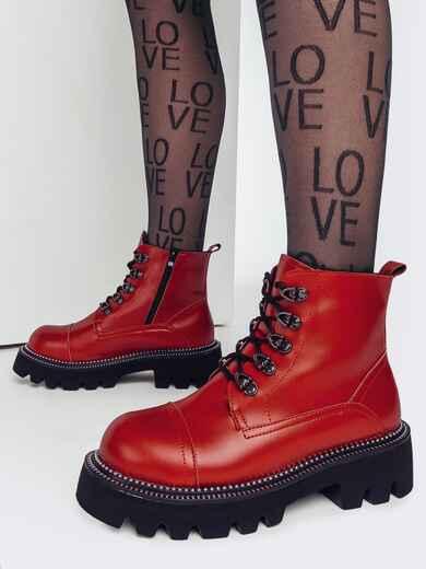 Зимние ботинки на массивной подошве красные 51808, фото 1