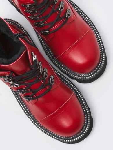 Зимние ботинки на массивной подошве красные 51808, фото 2