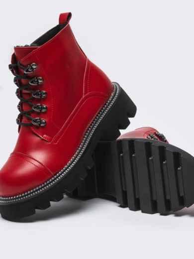 Зимние ботинки на массивной подошве красные 51808, фото 3