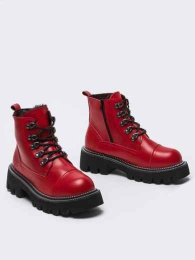 Зимние ботинки на массивной подошве красные 51808, фото 4